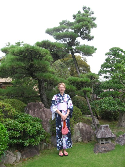 Helena posing in Hanae-san's beautiful garden