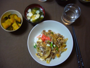homecooked gyudon and pumpkin