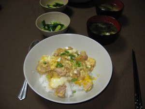 homecooked oyakodon and miso soup