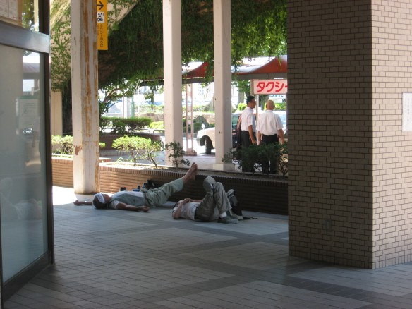 sleeping on the ground in japan 1