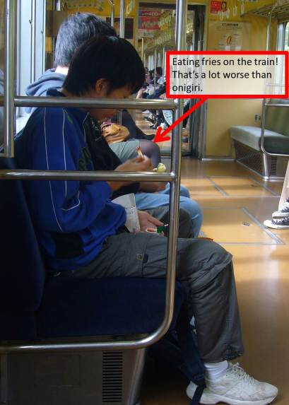 eating fries on the train in Japan