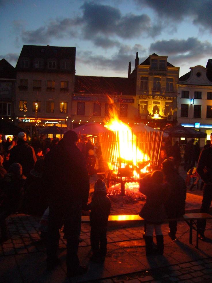 Christmas bonfire in Belgium
