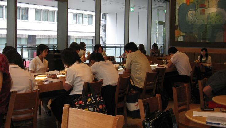 students in sakae starbucks japan