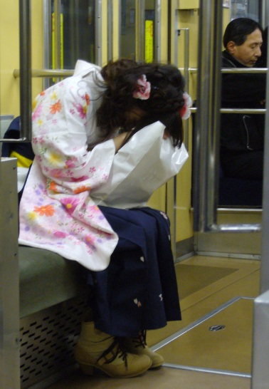 university graduation hakama Japan sleeping on the train