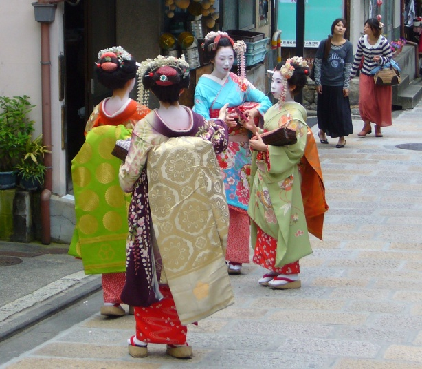 Maiko group in Kyoto, Japan