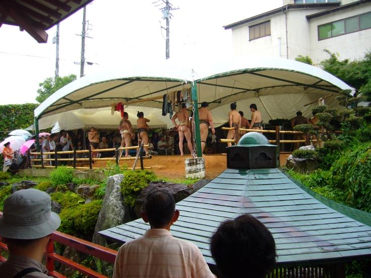 Watching sumo training