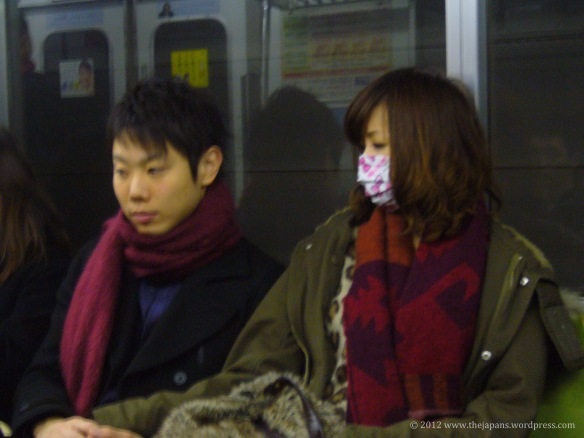 Mask on the train in Japan