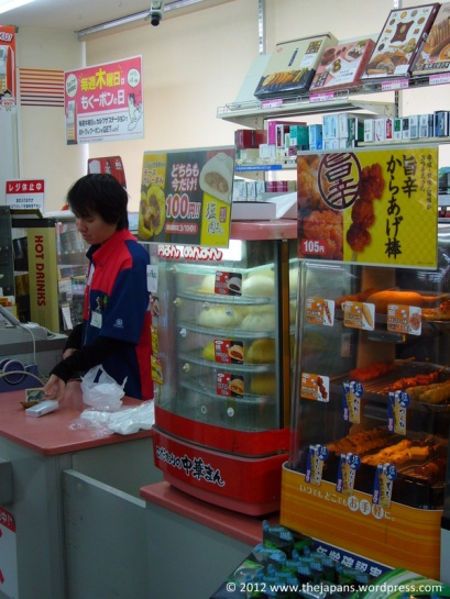 Display cases with hot snacks in the convenience store