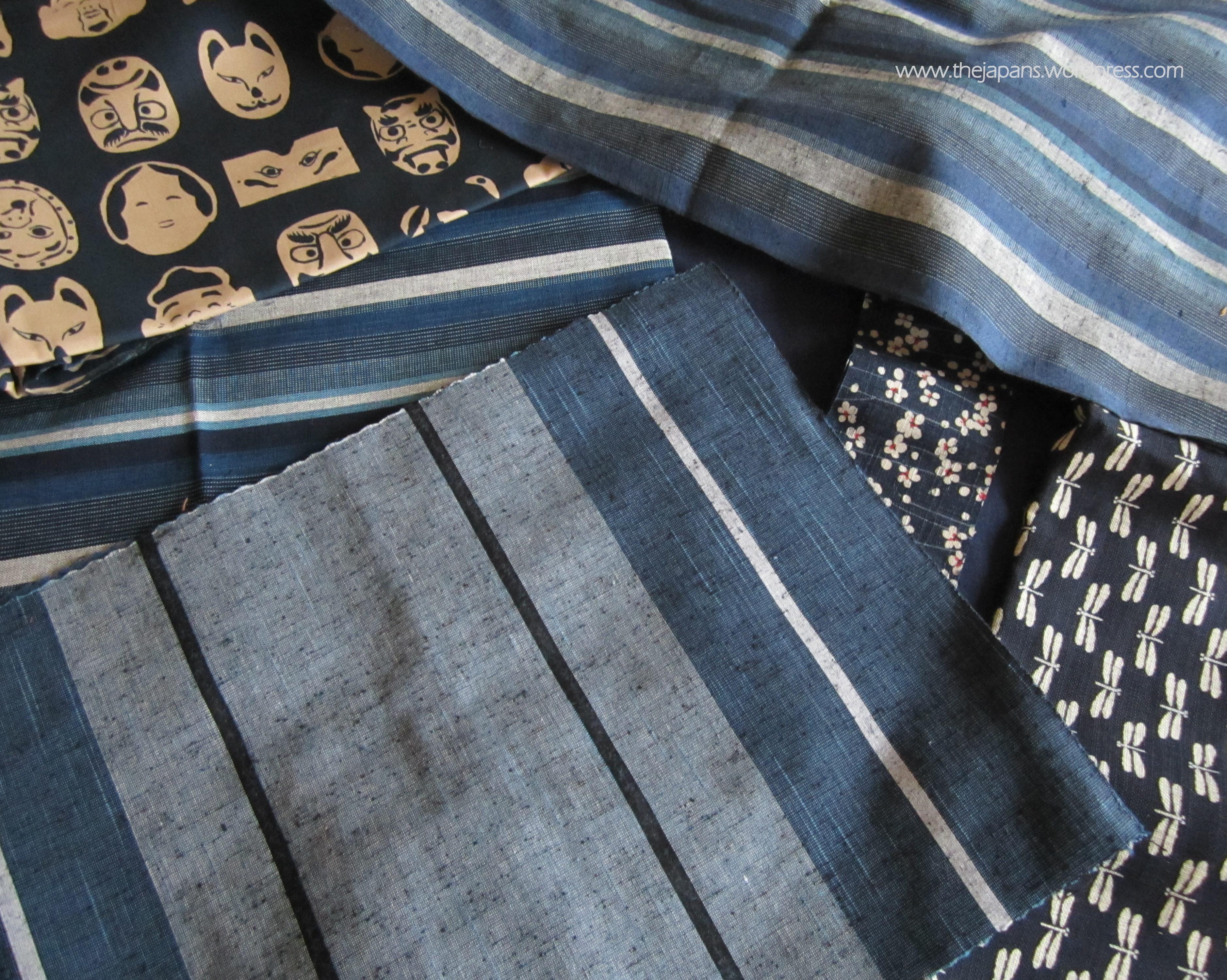 blue and white japanese fabrics