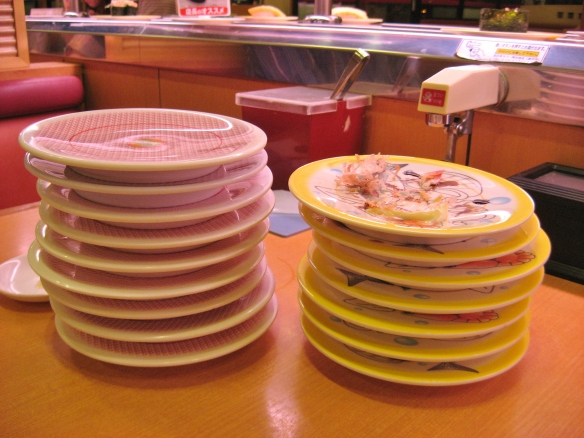 kappa zushi stack of plates