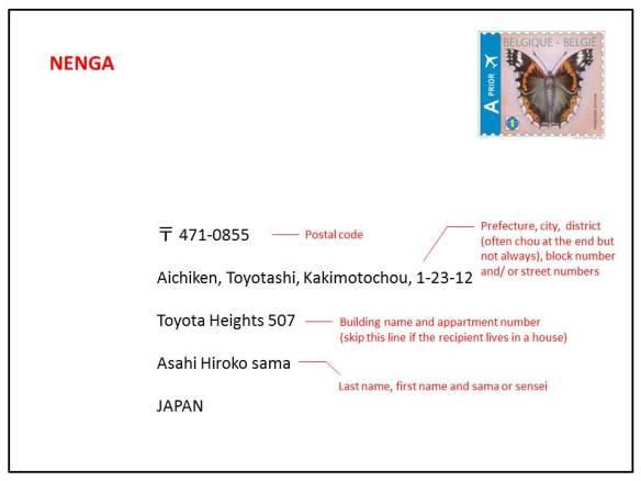 nengajou Japanese New Year's card address example