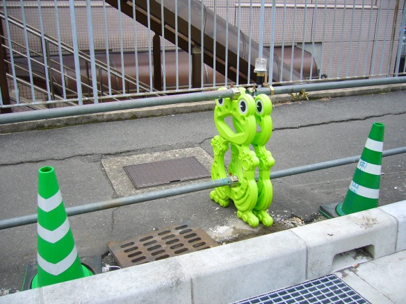 cute japanese roadblocks frogs