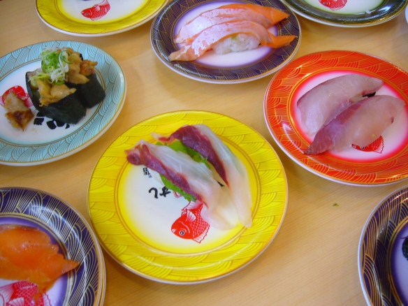 types of sushi: nigirizushi in a Japanese sushi restaurant