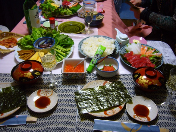 sushi party with temaki in Japan