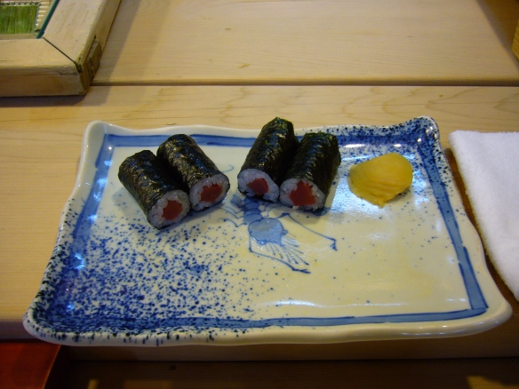 types of sushi: makizushi in a Japanese sushi restaurant