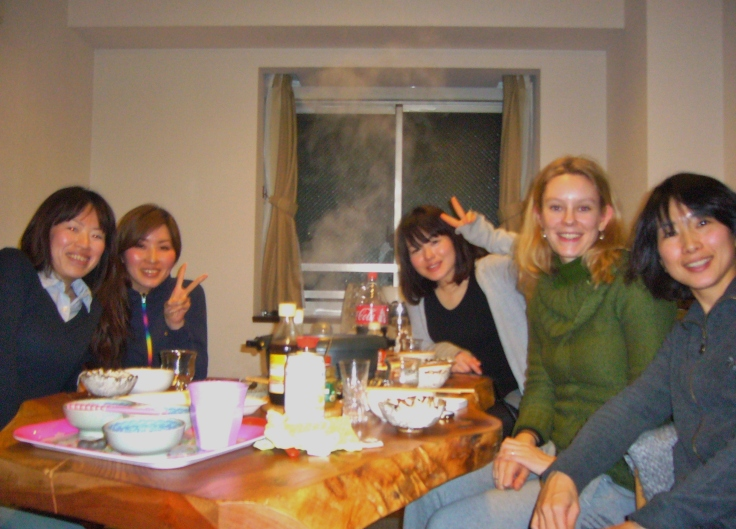 friends at a japanese nabe party