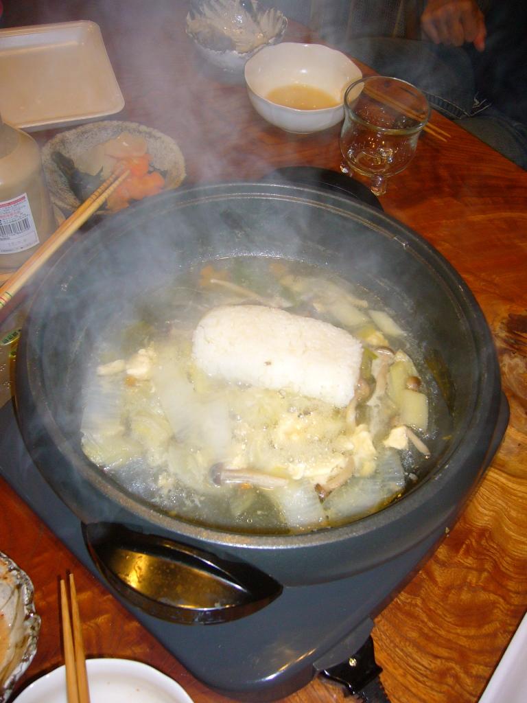 japanese nabe party rice added