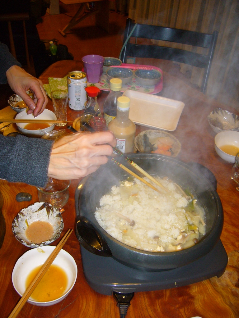 japanese nabe party rice added