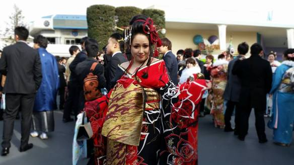 coming of age day oiran kimono fashion